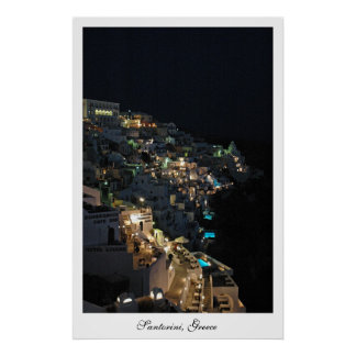 Santorini la nuit posters
