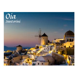 Santorini - paysage urbain d'Oia à la carte Carte Postale