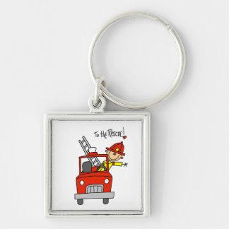 Sapeur-pompier au T-shirts et aux cadeaux de déliv Porte-clé Carré Argenté
