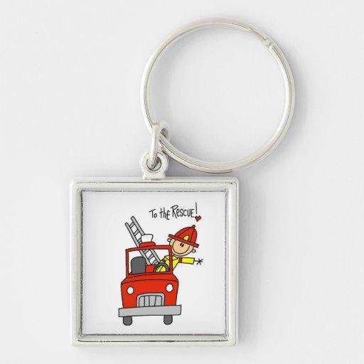 Sapeur-pompier au T-shirts et aux cadeaux de déliv Porte-clef