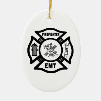 Sapeur-pompier EMT Ornement Ovale En Céramique