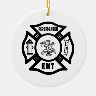 Sapeur-pompier EMT Ornement Rond En Céramique