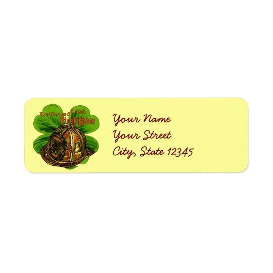 Sapeur-pompier irlandais consacré étiquette d'adresse retour