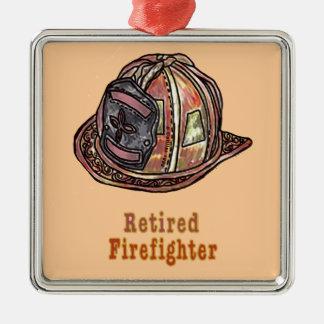 Sapeur-pompier retraité ornement carré argenté