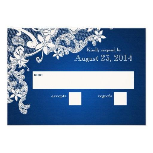 Saphir blanc vintage de réponse de mariage de dent invitations personnalisées