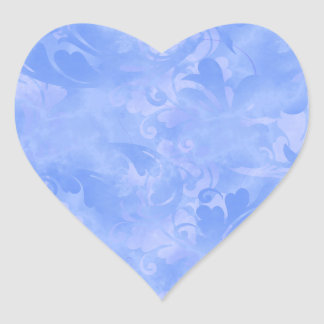 Saphir subtil d'azur d'hiver d'Aqua bleu Sticker Cœur