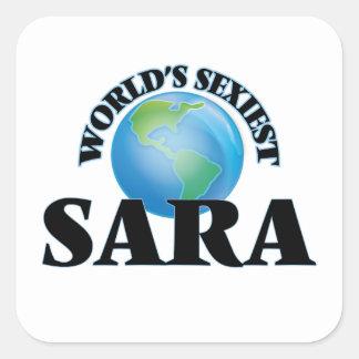 Sara la plus sexy du monde autocollant carré