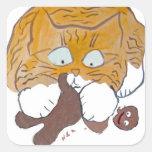 Sara, le chaton, craquement de pain d'épice stickers carrés