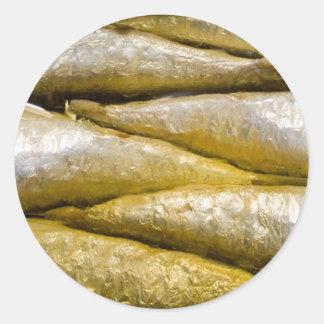Sardines en boîte adhésifs ronds
