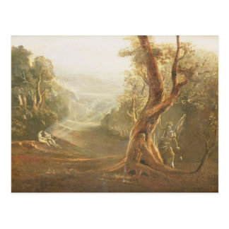 Satan contemplant Adam et Ève dans le paradis, de Carte Postale