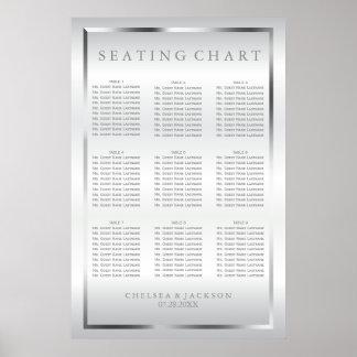 Satin argenté et blanc - diagramme 9 de places poster