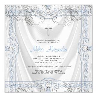 Satin bleu argenté de blanc de baptême de bébé carton d'invitation  13,33 cm