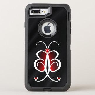 Satin ou soie lunatique rouge de noir de papillon coque otterbox defender pour iPhone 7 plus
