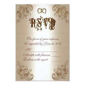 Satin-regard d'or de carte de réponse de RSVP Carton D'invitation 8,89 Cm X 12,70 Cm