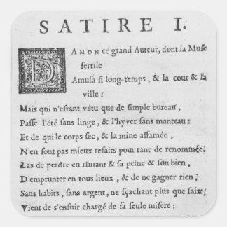 """""""Satires par Nicolas Boileau Sticker Carré"""