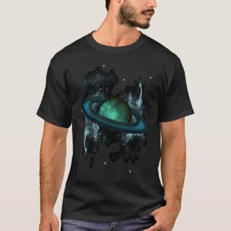 Saturn comme la planète baguée avec les étoiles et t-shirt