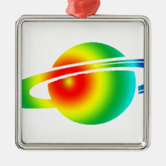 Saturn psychédélique ornement carré argenté