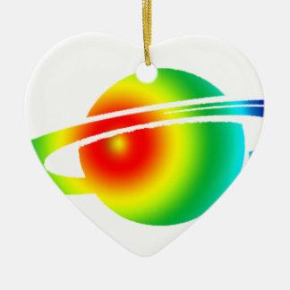 Saturn psychédélique ornement cœur en céramique
