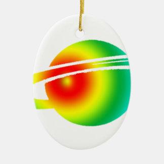 Saturn psychédélique ornement ovale en céramique