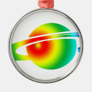 Saturn psychédélique ornement rond argenté