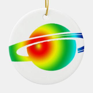 Saturn psychédélique ornement rond en céramique