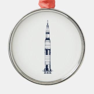 Saturn Rocket Ornement Rond Argenté