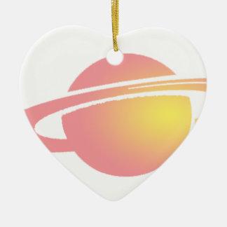 Saturn rose ornement cœur en céramique