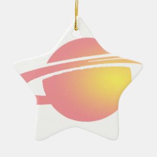 Saturn rose ornement étoile en céramique