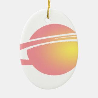 Saturn rose ornement ovale en céramique