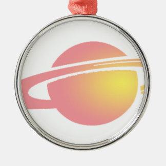 Saturn rose ornement rond argenté