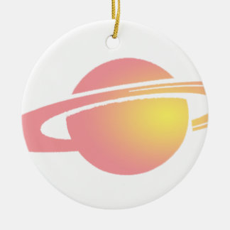 Saturn rose ornement rond en céramique