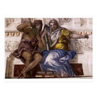 Saturn (temps) et Historia par Paolo Veronese Carte Postale