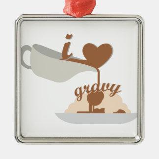 Sauce au jus d'amour ornement carré argenté