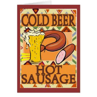 Saucisse chaude de bière froide carte de vœux