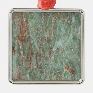 Sauge et marbre de rouille ornement carré argenté