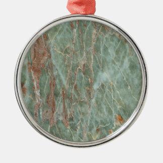 Sauge et marbre de rouille ornement rond argenté