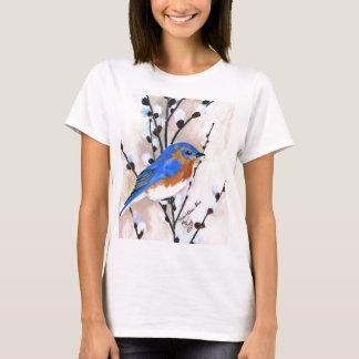 Saule d'oiseau bleu et de chat t-shirt