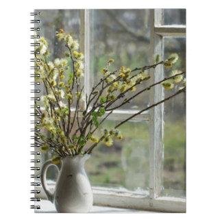 Saules de chat par le rebord de fenêtre carnets