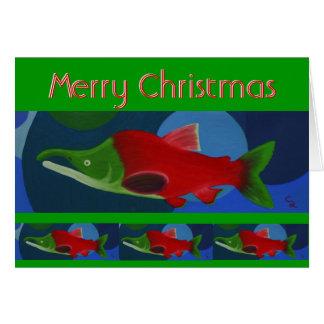 Saumon de Joyeux Noël Carte De Vœux