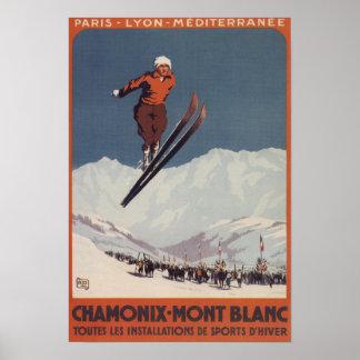 Saut à skis - affiche olympique de promo de PLM