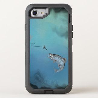 Saut de la pêche de mouche de truite sur le coque otterbox defender pour iPhone 7