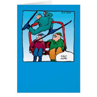 Saut gentil ! Carte de Noël de skieurs