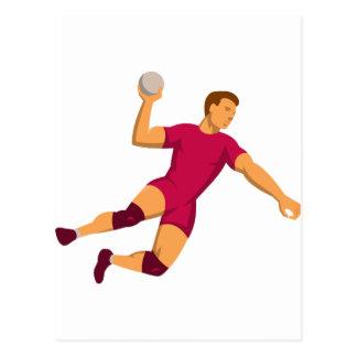 sauter de joueur de handball rétro carte postale