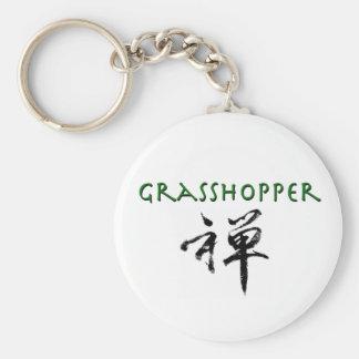 """Sauterelle avec le symbole de """"zen"""" porte-clé rond"""