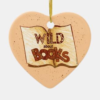Sauvage au sujet des livres lisant l'ornement de ornement cœur en céramique