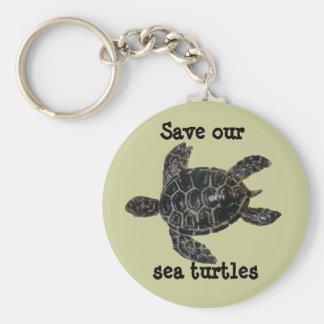 Sauvez et protégez les tortues de mer porte-clé rond