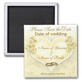 Sauvez l aimant de date - coeur et anneaux de mari