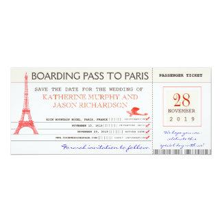 sauvez la carte d'embarquement de date à Paris Carton D'invitation 10,16 Cm X 23,49 Cm