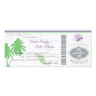 Sauvez la carte d'embarquement de date au Mexique Carton D'invitation 10,16 Cm X 23,49 Cm