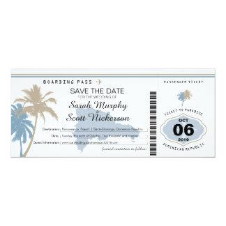 Sauvez la carte d'embarquement de date en carton d'invitation  10,16 cm x 23,49 cm